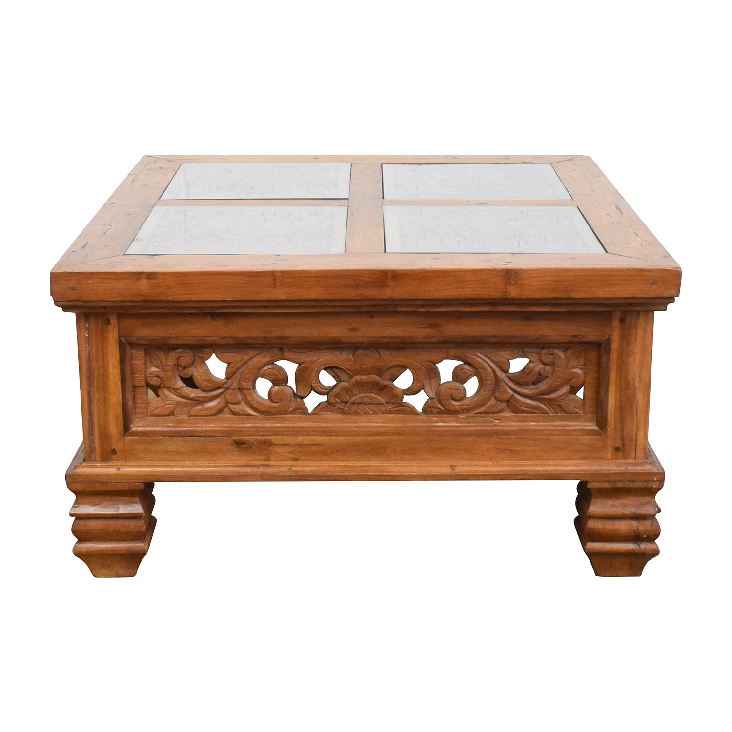 shop Teak Carved Coffee Table with Glass Top online