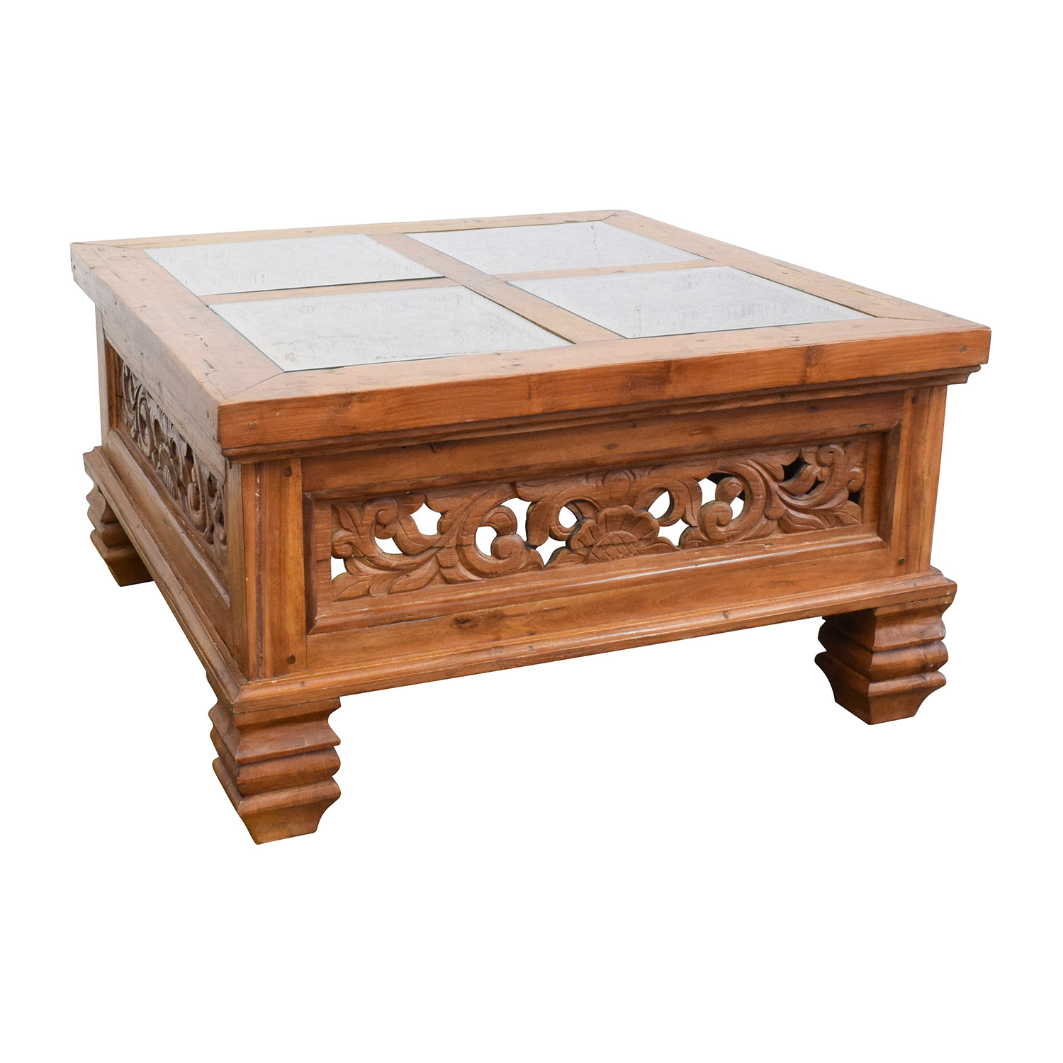 77 Off Teak Carved Coffee Table With Glass Top Tables