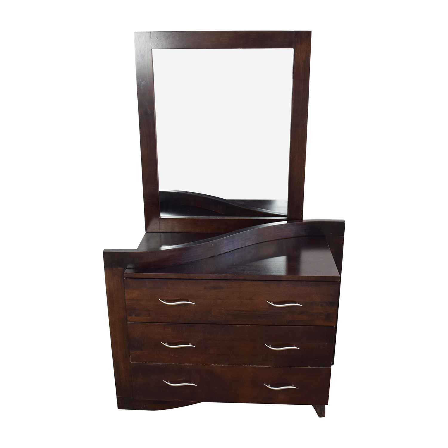 Unique Curved 3-Drawer Dresser with Mirror Dark Brown