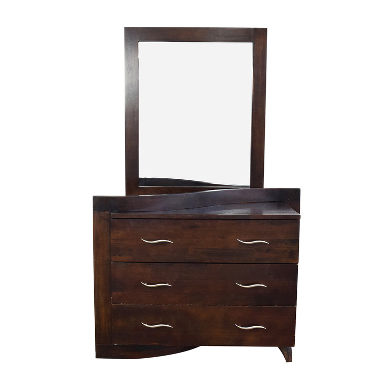 Unique Curved 3-Drawer Dresser with Mirror on sale