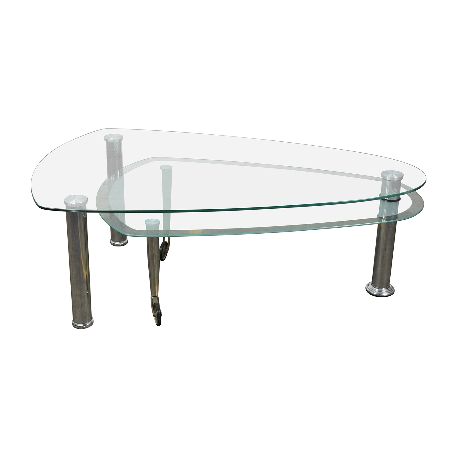 OFF Triangular Rounded Glass and Chrome Table Tables
