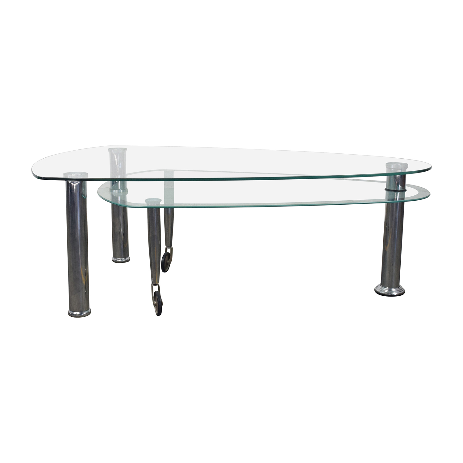 Triangular Rounded Glass and Chrome Table coupon