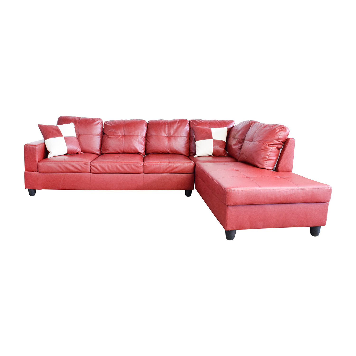 Beverly red faux leather sectional sofa with ottoman for Red leather sectional sofa with ottoman