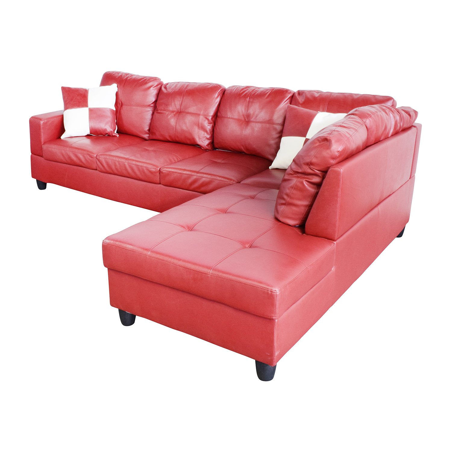 76 Off Beverly Furniture Beverly Furniture Red Faux Leather Sectional Sofas