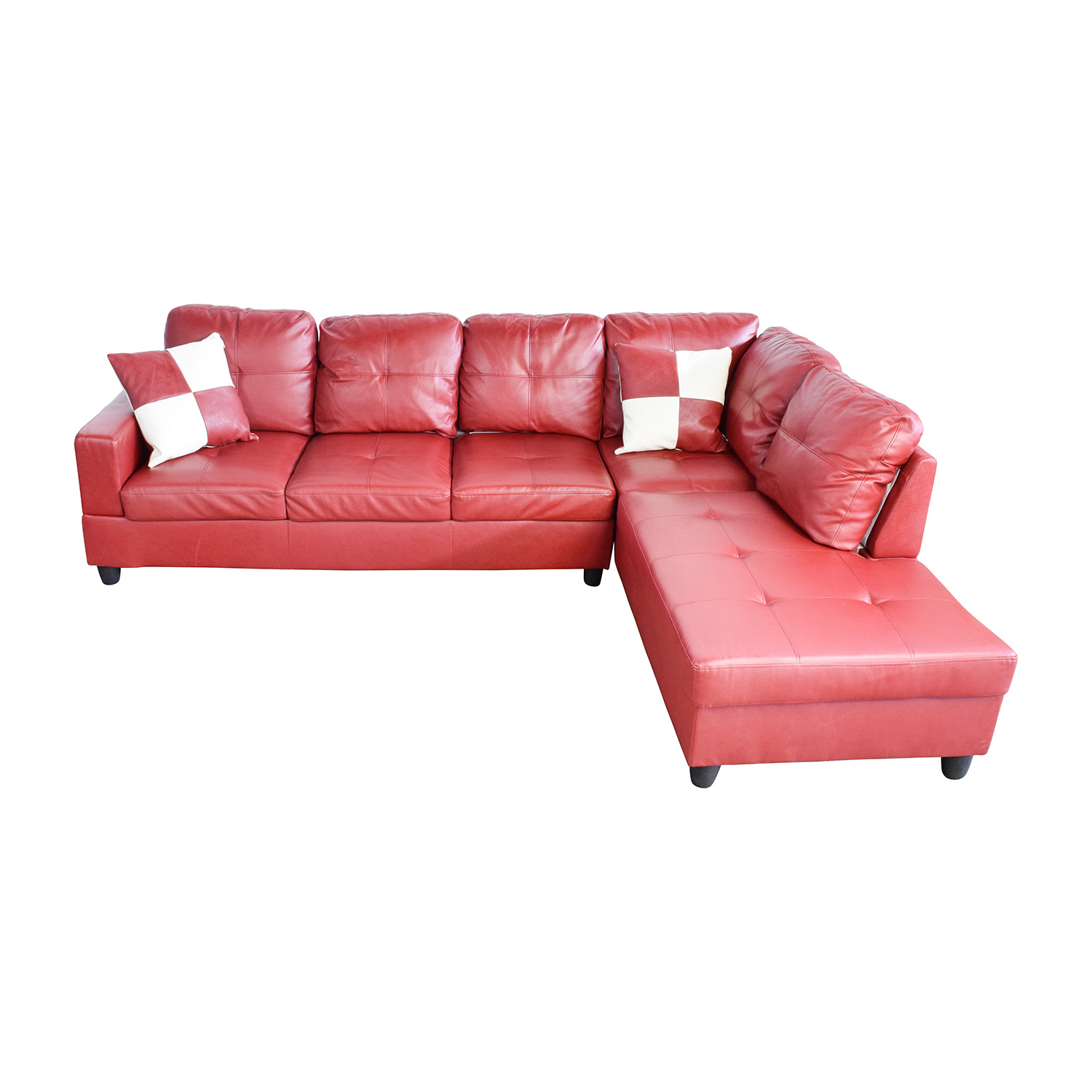 Beverly Furniture Beverly Furniture Red Faux Leather Sectional on sale