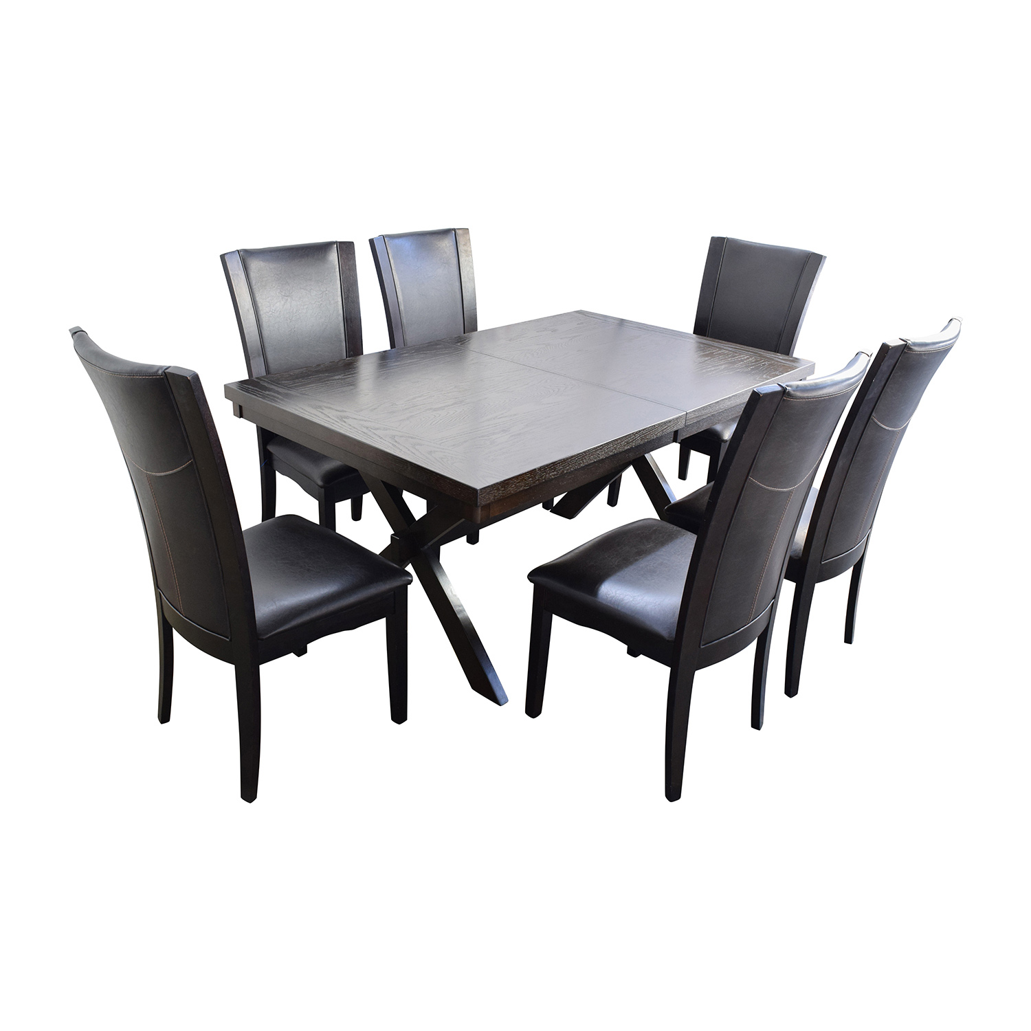 Raymour and Flanigan Raymour & Flanigan Wood and Leather Dining Set Dining Sets
