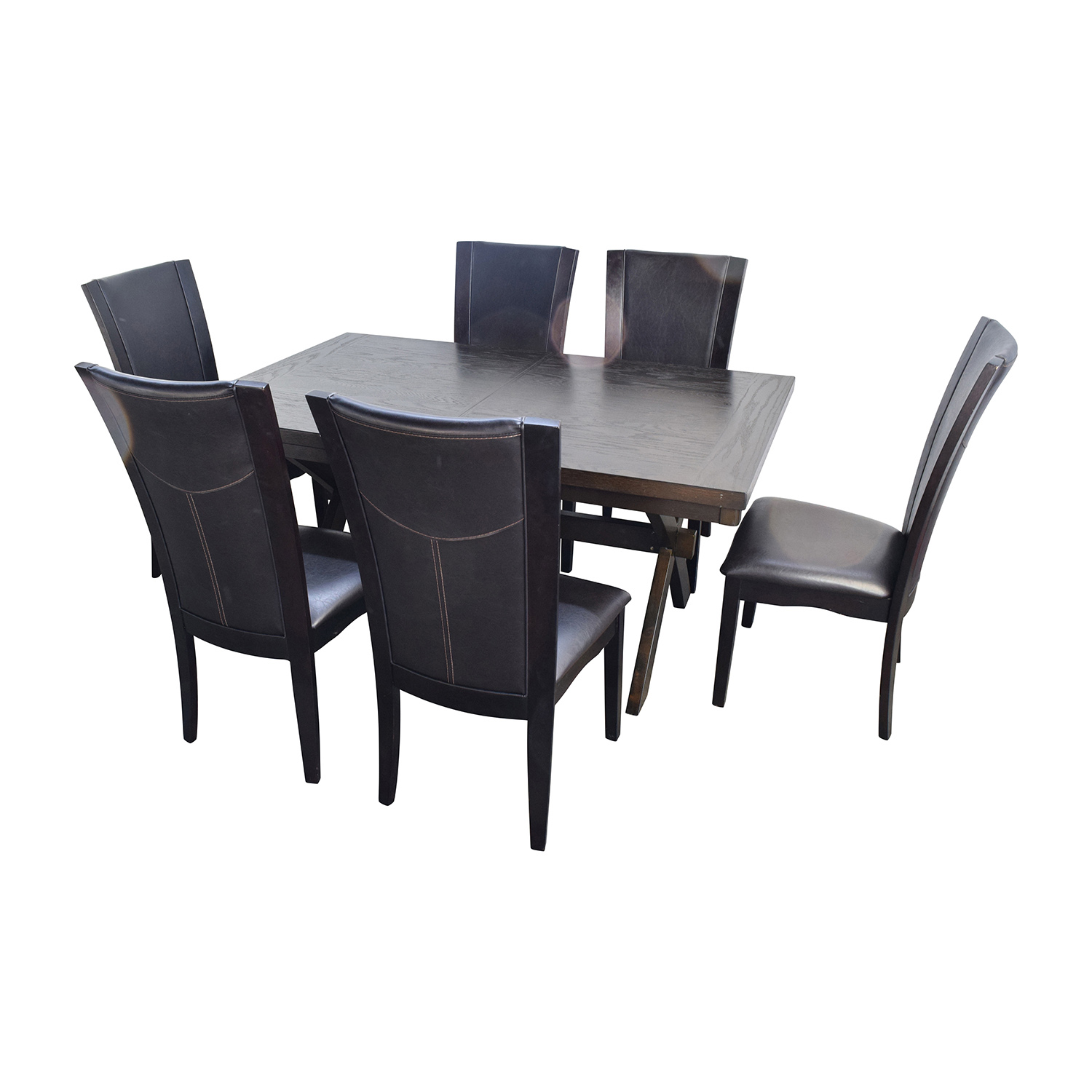 shop Raymour & Flanigan Wood and Leather Dining Set Raymour and Flanigan