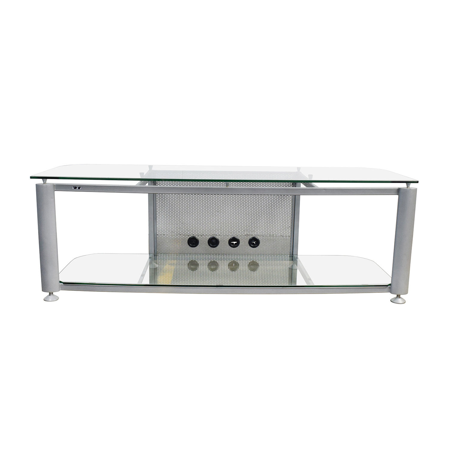90 Off Glass And Chrome Tv Stand Storage