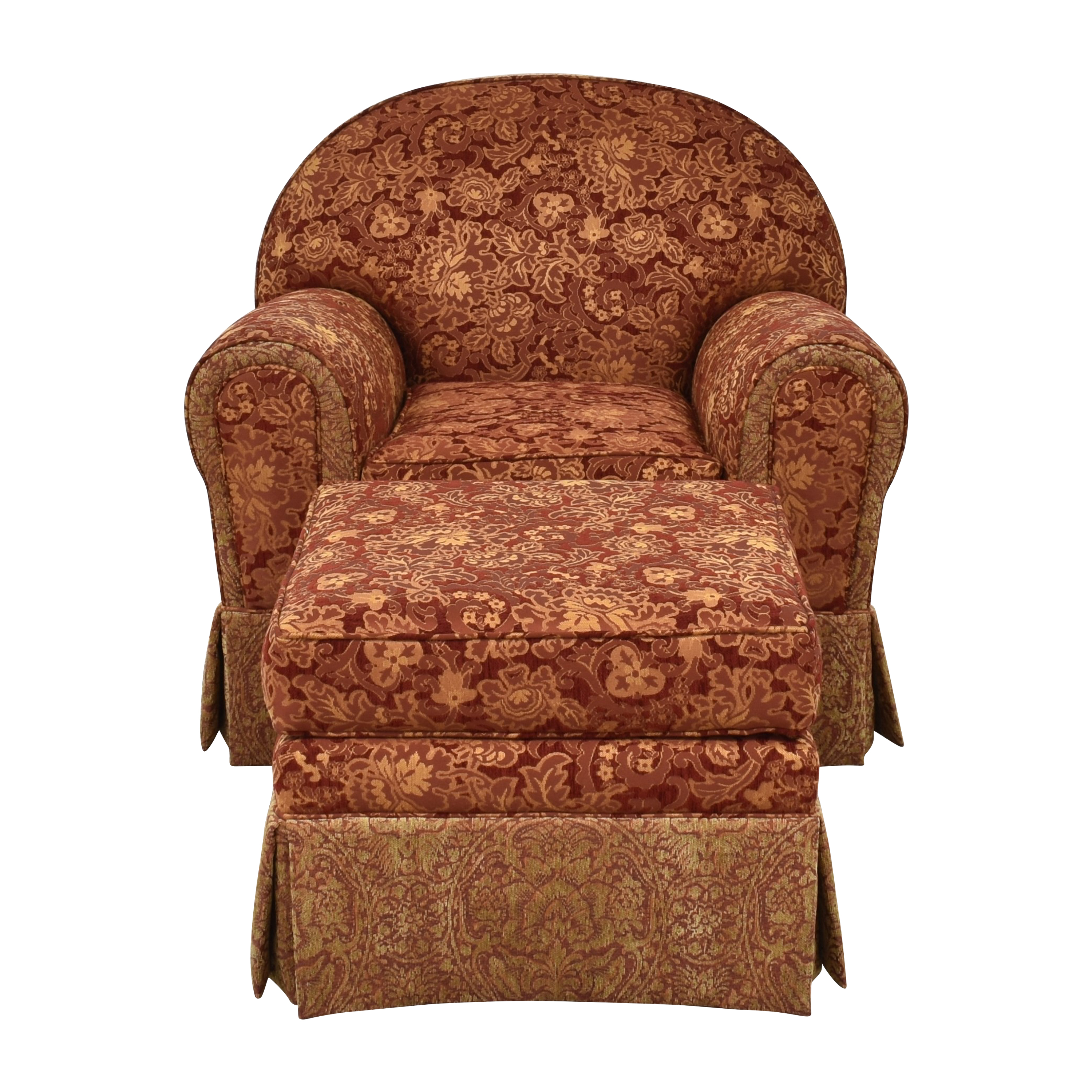 Skirted Club Chair and Ottoman second hand