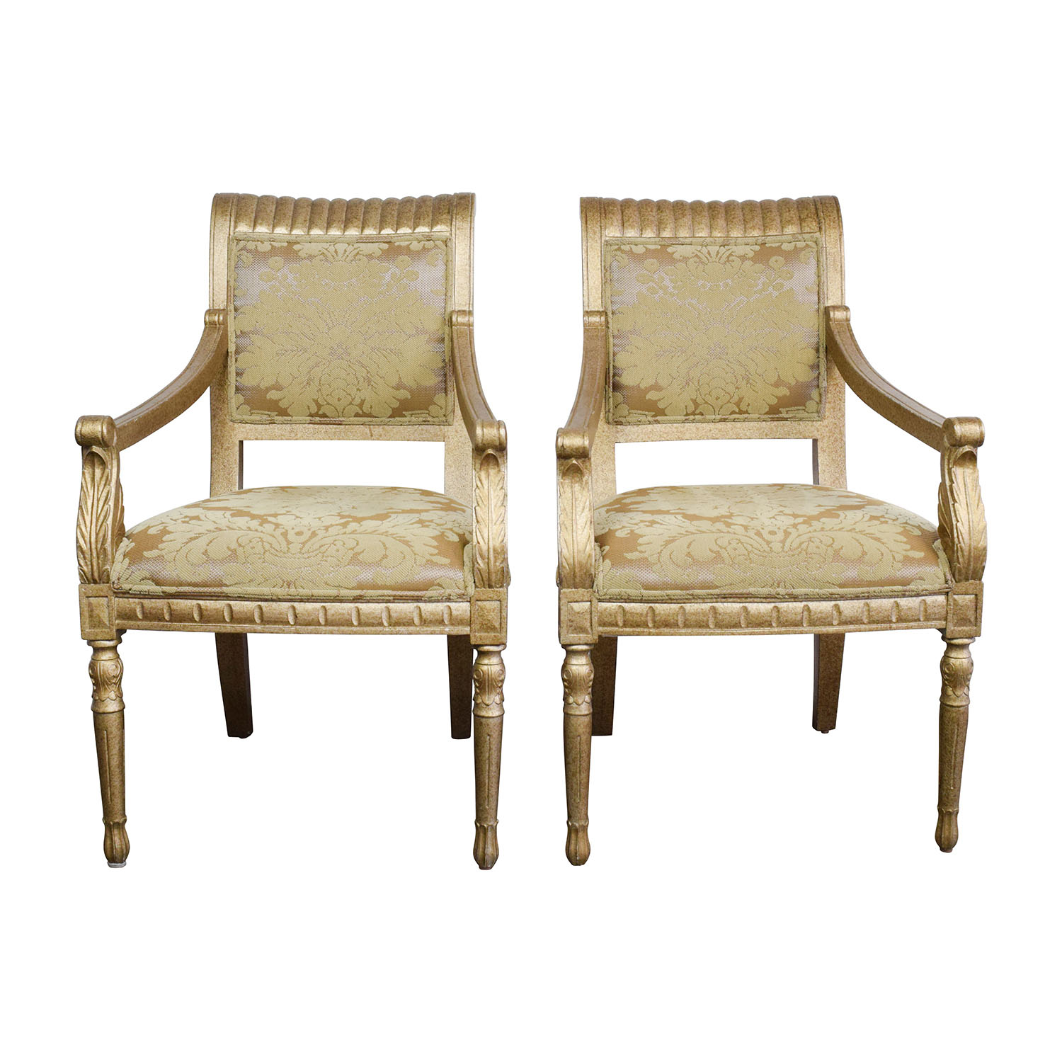 Swell 80 Off Rustic Gold Upholstered Arm Accent Chairs Chairs Gmtry Best Dining Table And Chair Ideas Images Gmtryco