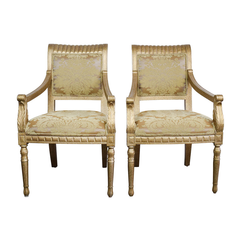buy  Rustic Gold Upholstered Arm Accent Chairs online