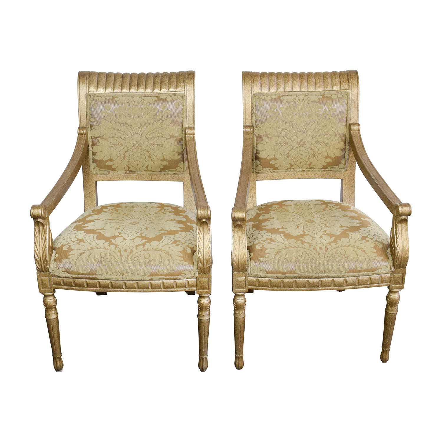 Rustic Gold Upholstered Arm Accent Chairs discount