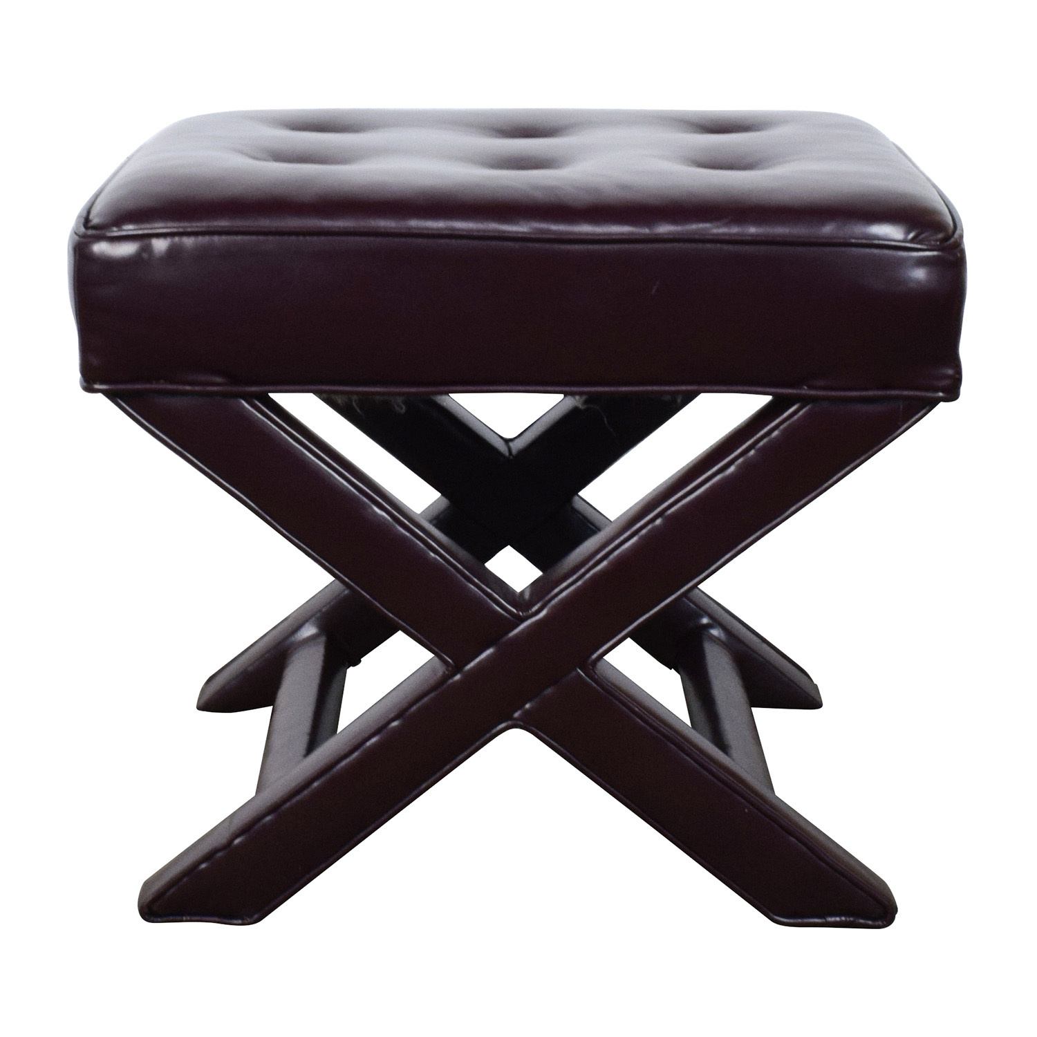 Burgundy Tufted Leather Ottoman second hand