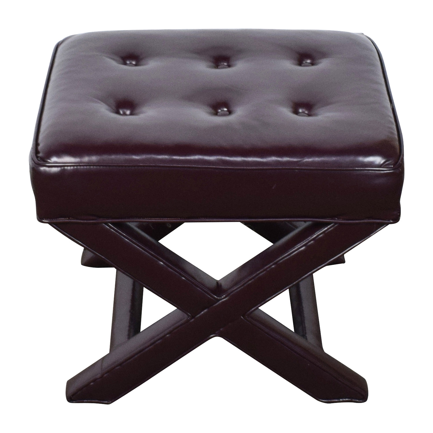 Burgundy Tufted Leather Ottoman brown