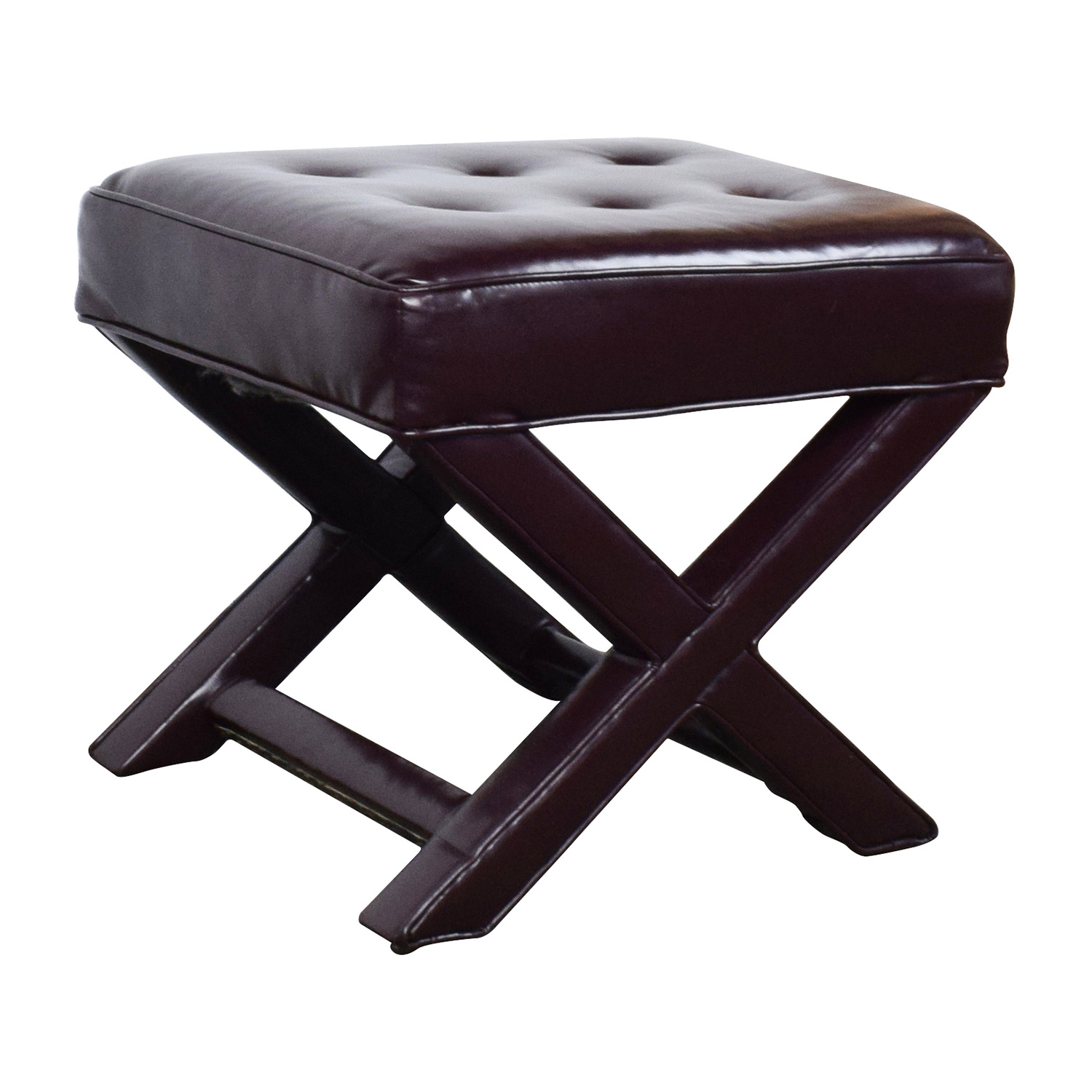 90 off burgundy tufted leather ottoman chairs for Chair ottoman