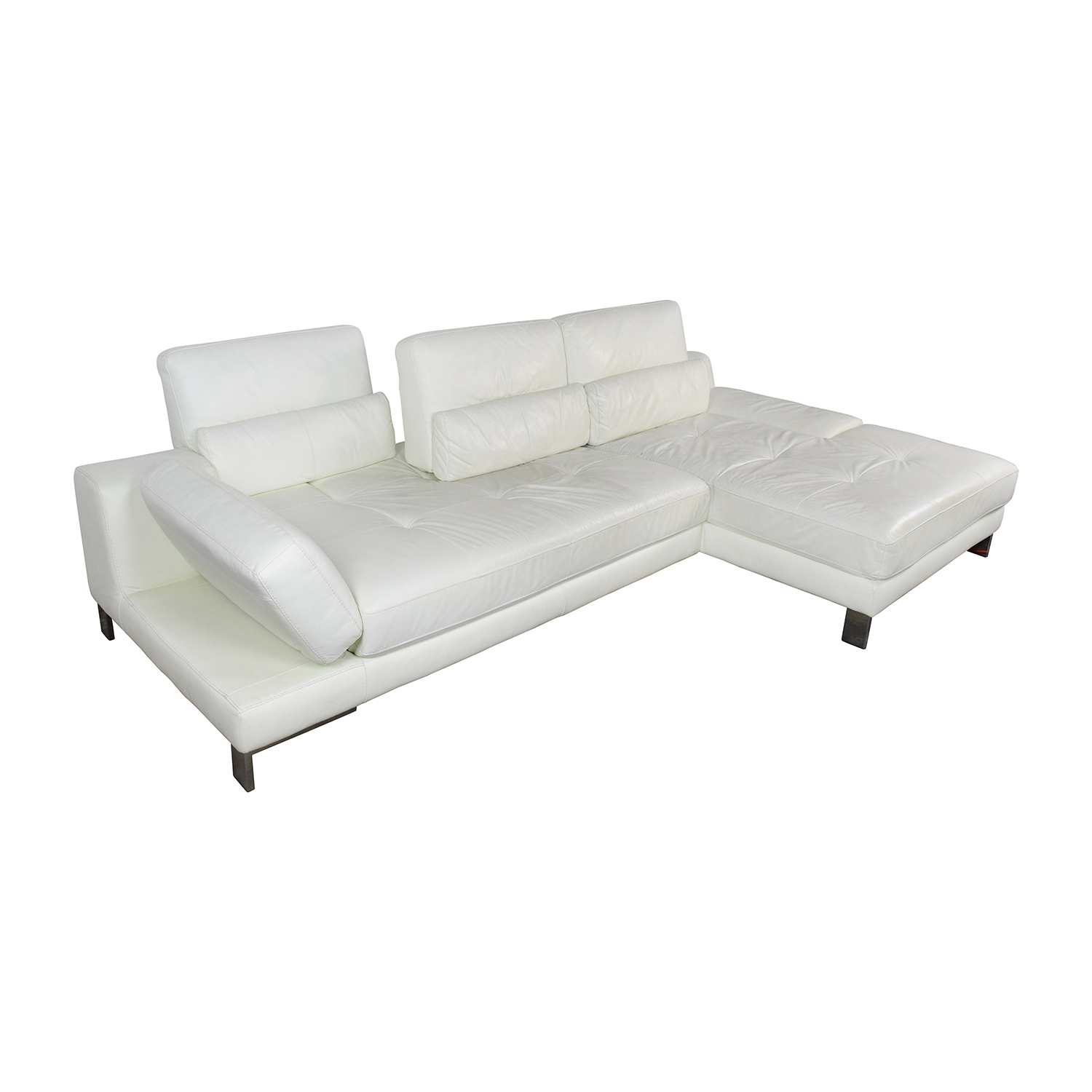 72 Off Mobilia Canada Mobilia Canada Funktion White Leather Sectional Sofas