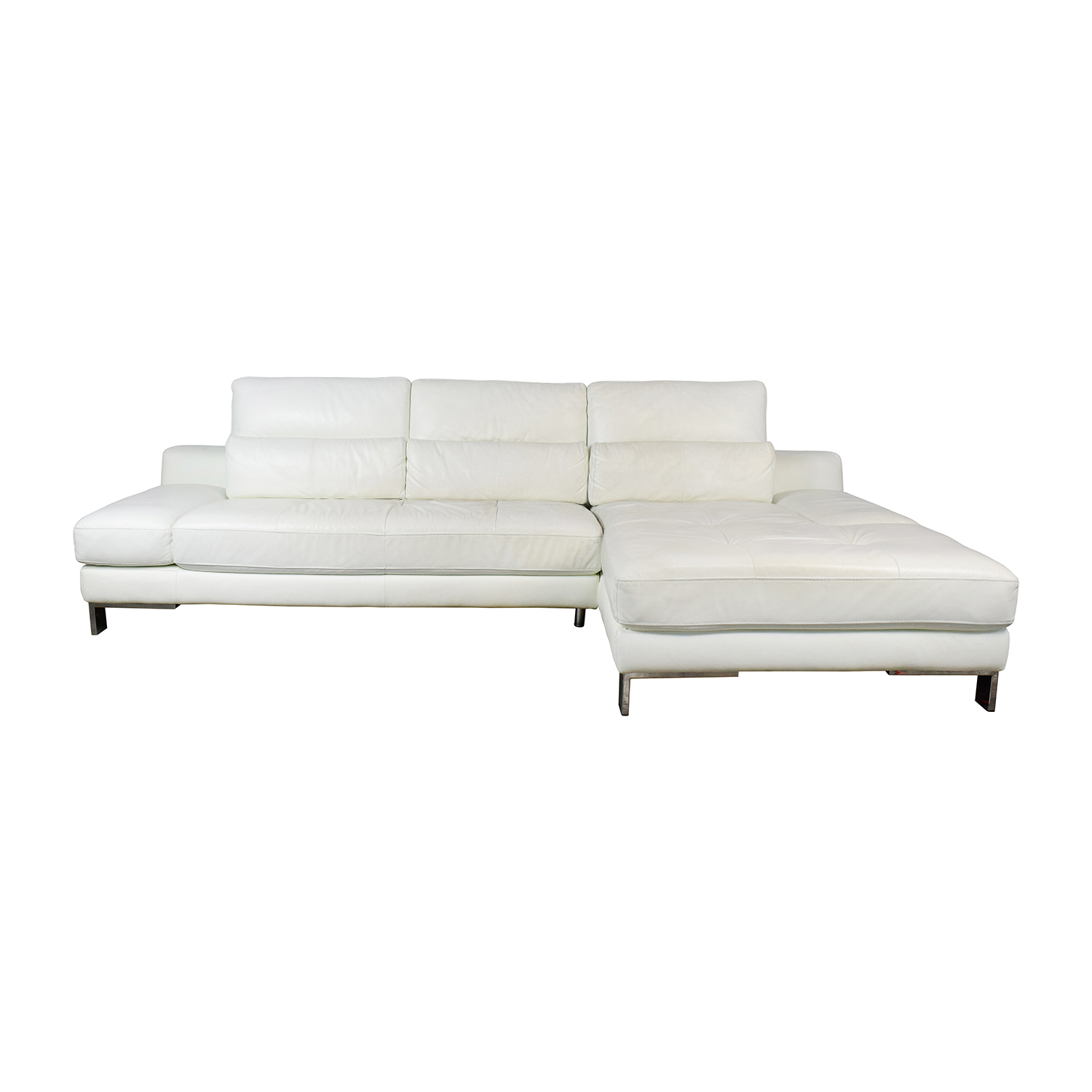 72% OFF - Mobilia Mobilia Canada Funktion White Leather Sectional / Sofas