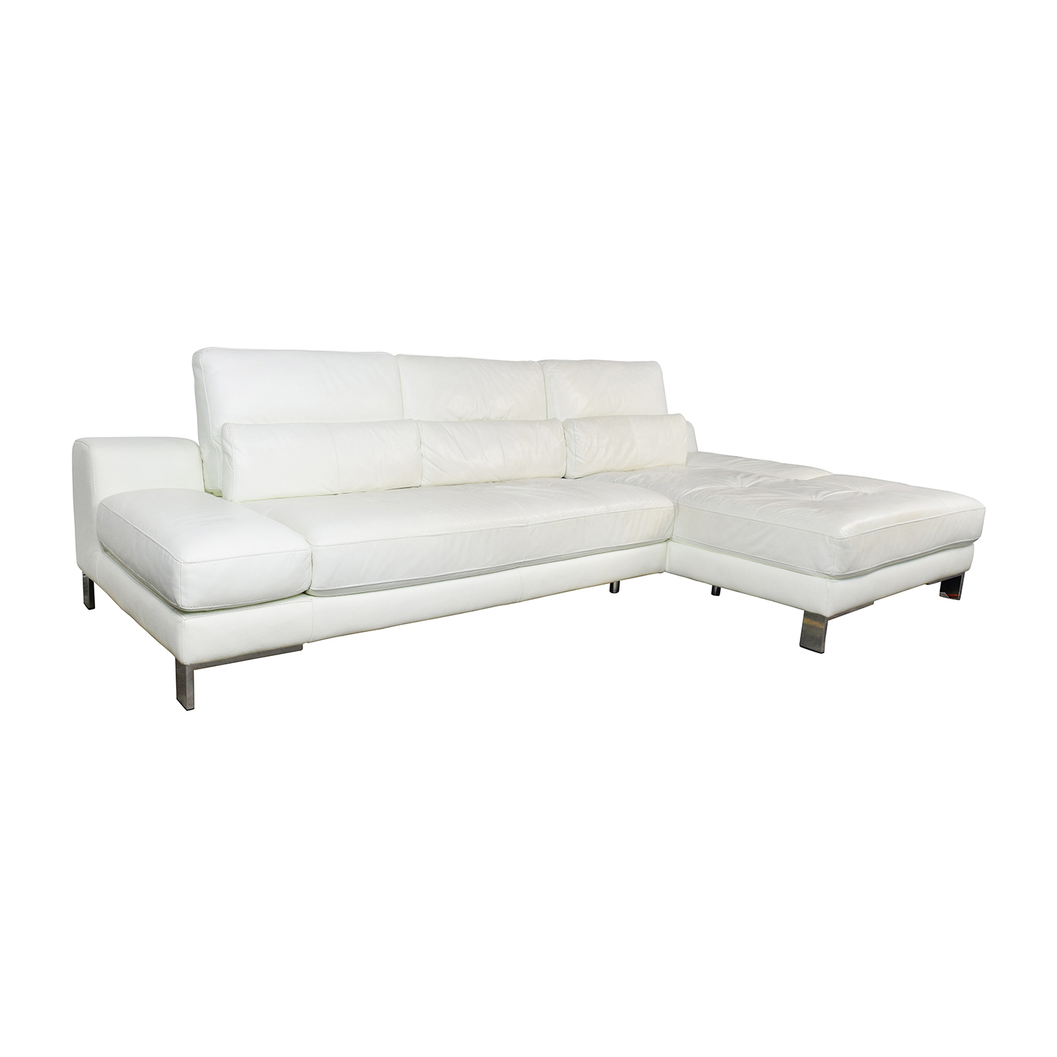Stupendous 72 Off Mobilia Mobilia Canada Funktion White Leather Sectional Sofas Machost Co Dining Chair Design Ideas Machostcouk