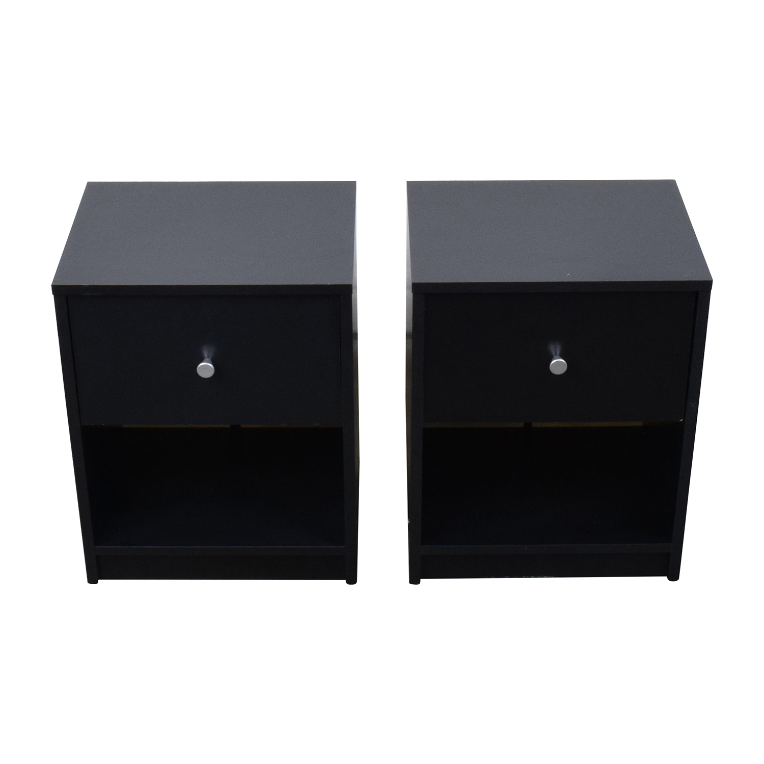 Black Nightstands with Drawer and Shelf Tables