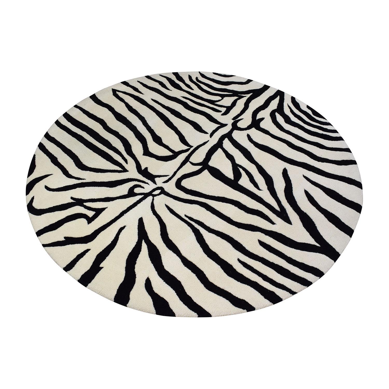 Overstock Overstock Round Zebra Shag Rug / Decor