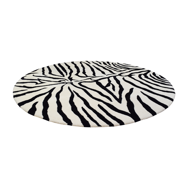 Overstock Overstock Round Zebra Shag Rug