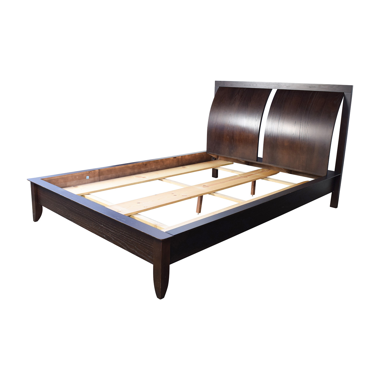 84 off wooden sleigh curved headboard bed frame beds for Wooden bed frame and mattress