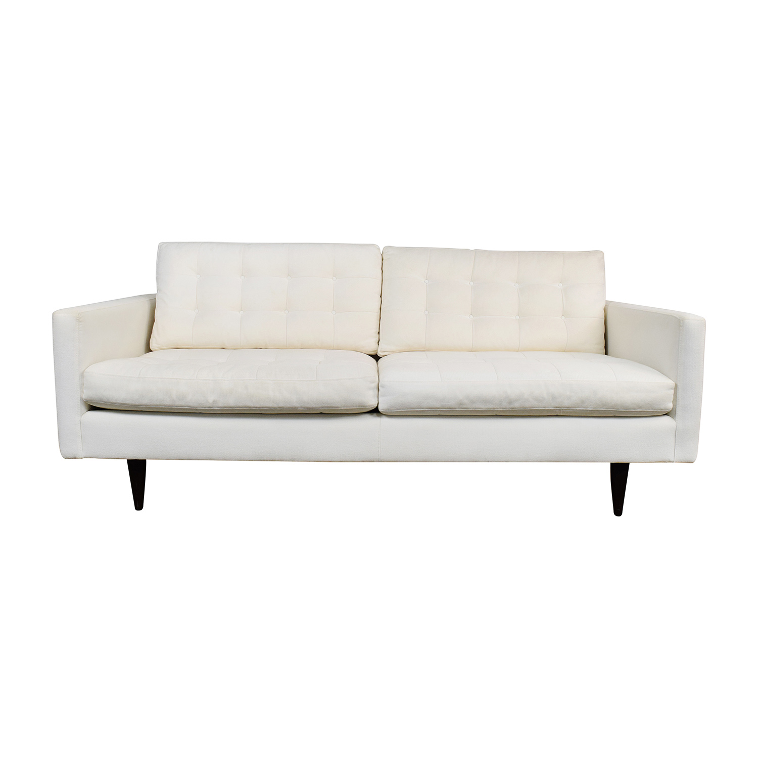 shop Crate and Barrel Crate & Barrel White Twill Tufted Sofa online