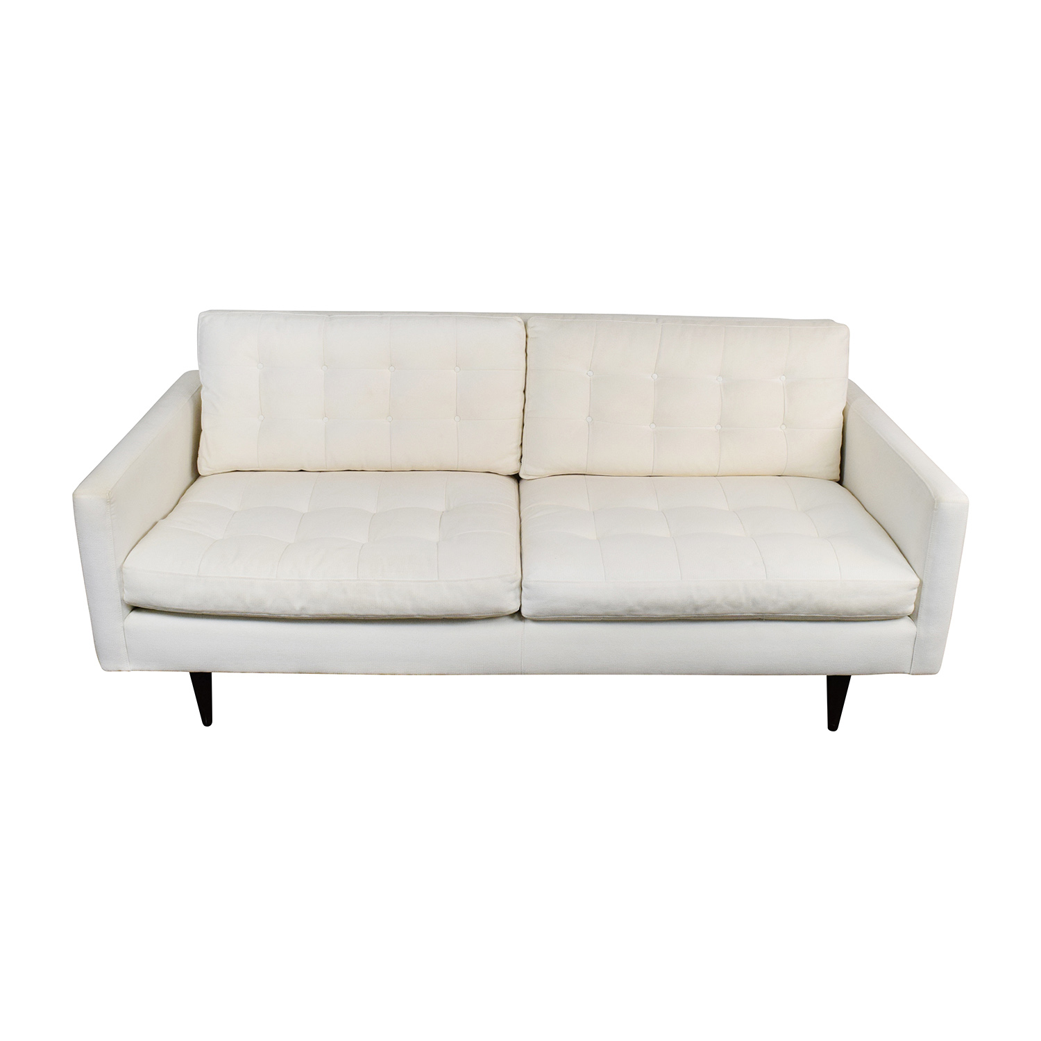 Crate and Barrel Crate & Barrel White Twill Tufted Sofa nj