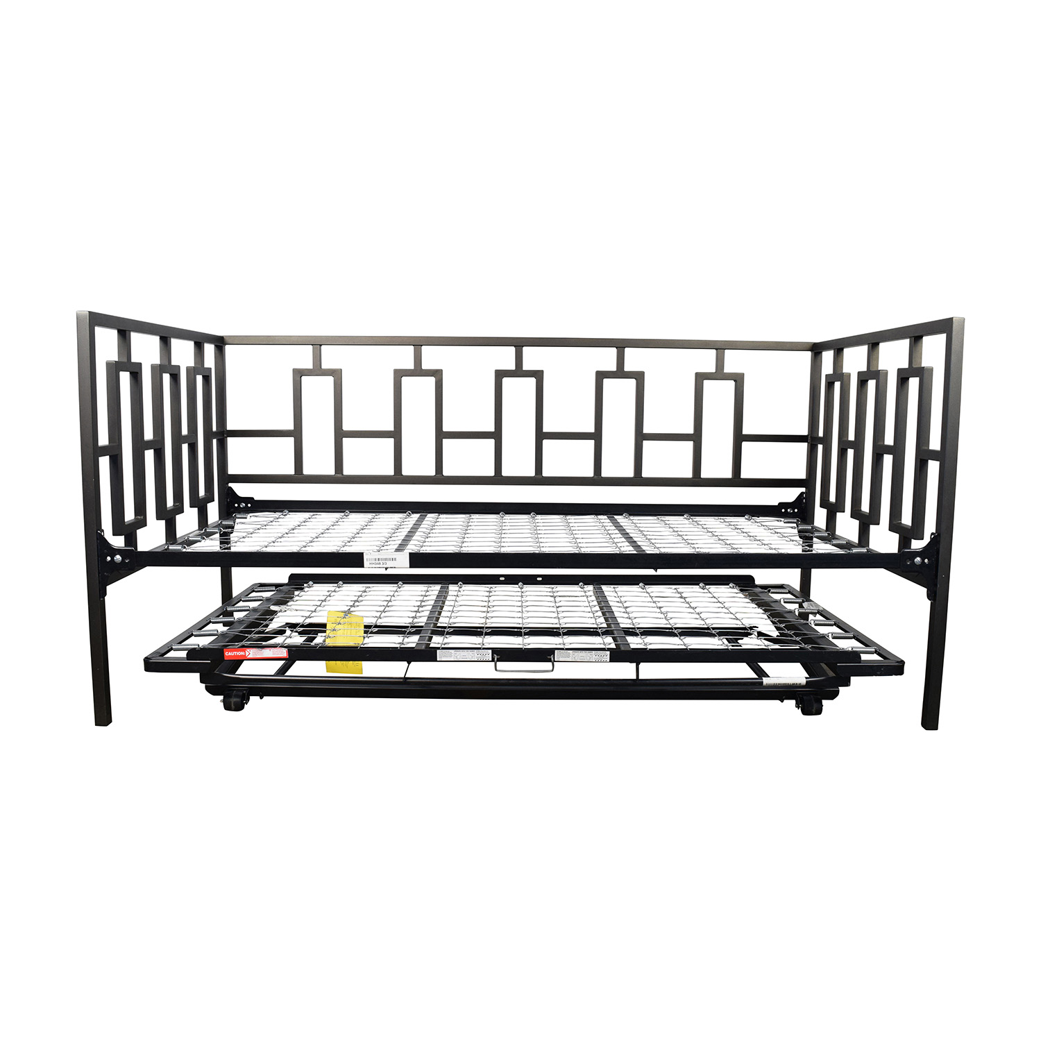 65 Off Macy S Macy S Black Metal Framed Day Twin Bed With Trundle Beds