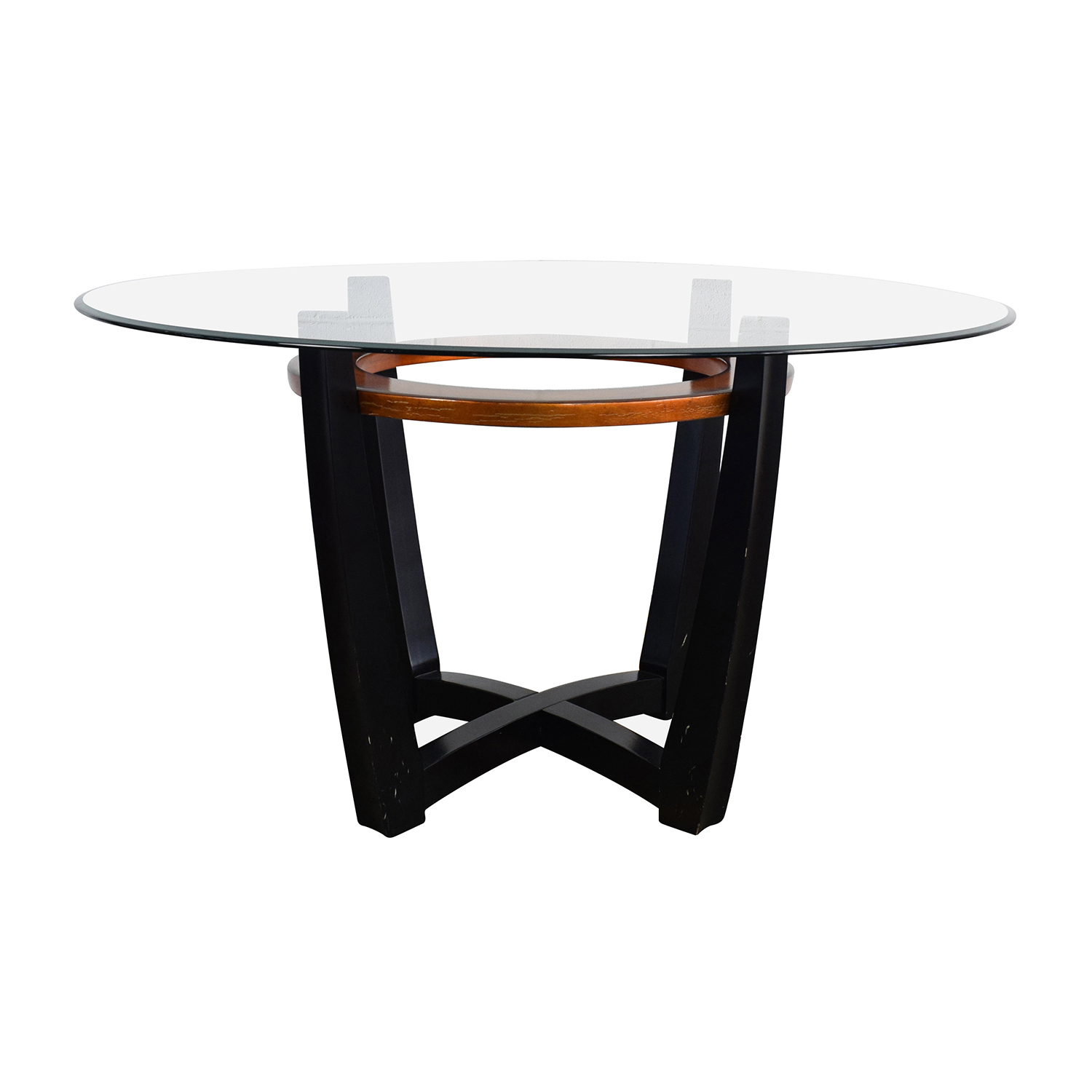 88% OFF - Macy\'s Macy\'s Elation Round Glass Dining Table / Tables