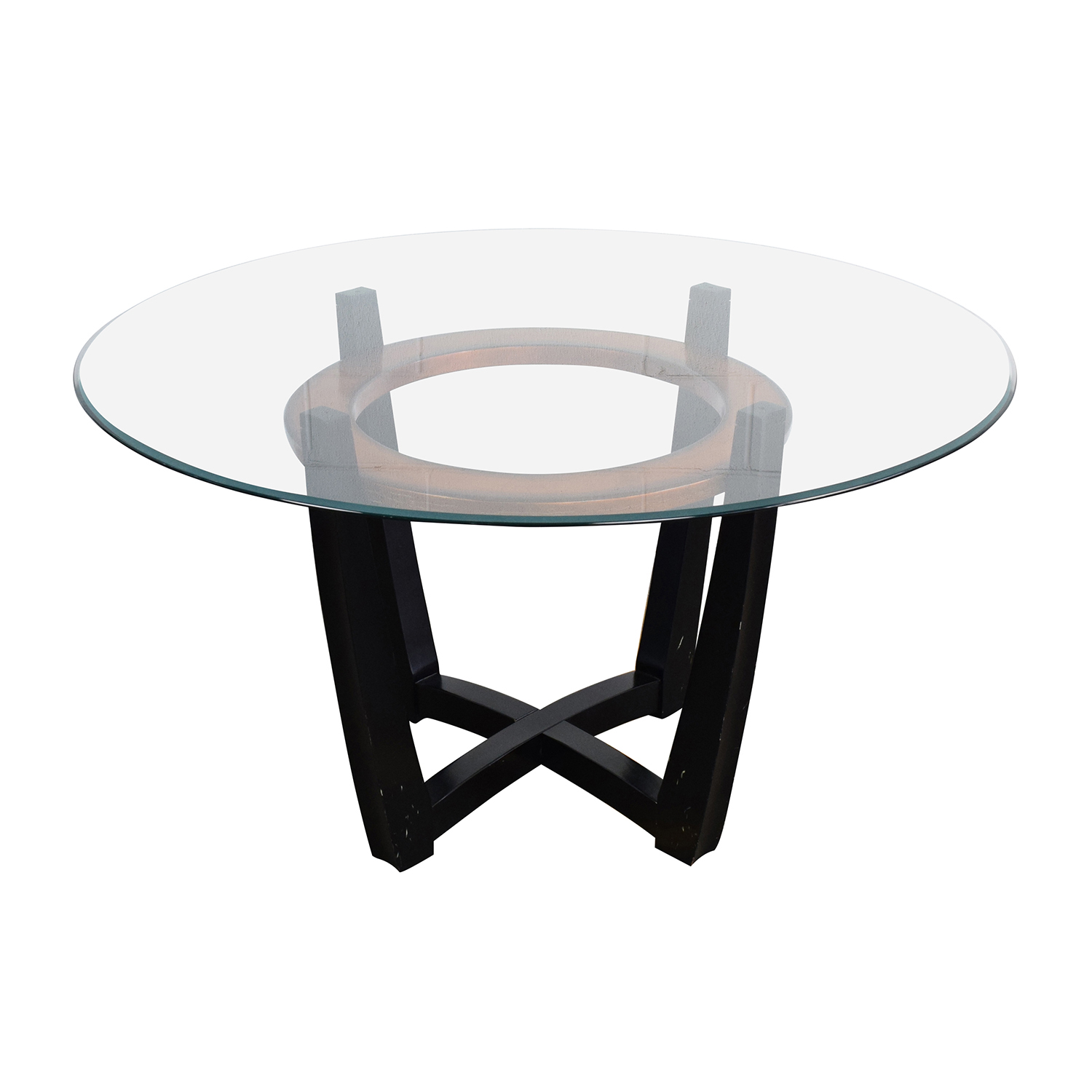 88 off macy 39 s macy 39 s elation round glass dining table for Dining room tables macys