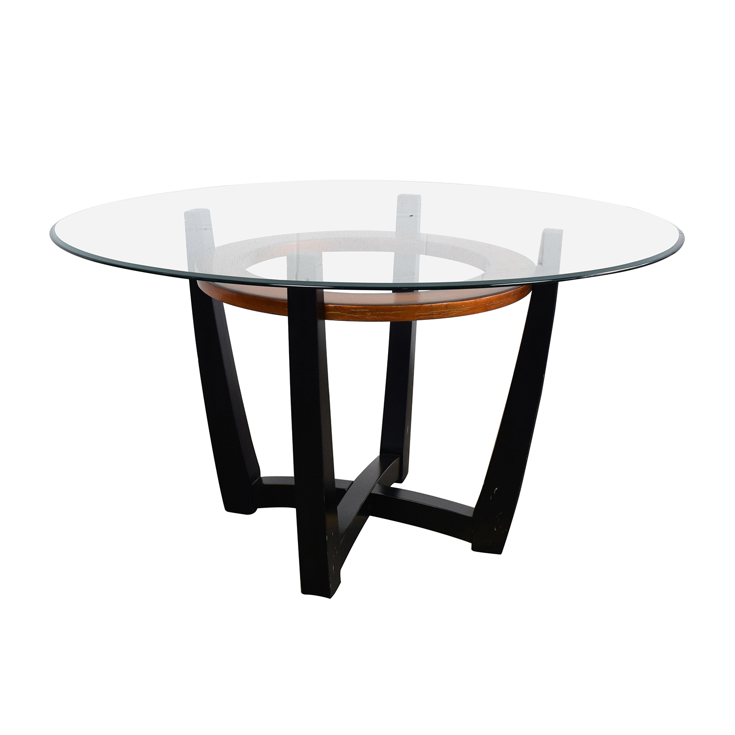 88 off macy 39 s macy 39 s elation round glass dining table for Round glass dining table