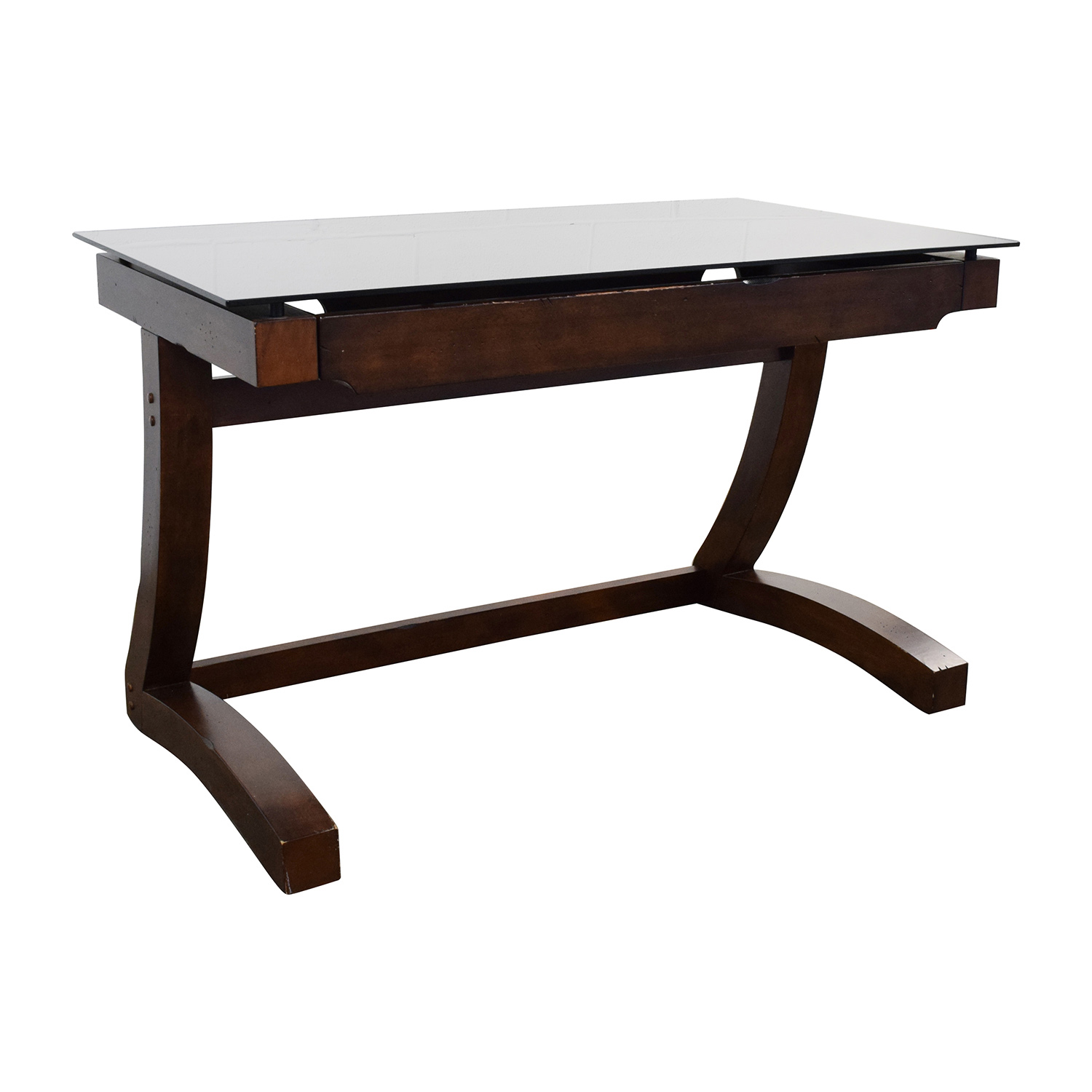 Raymour And Flanigan Wood Black Glass Desk