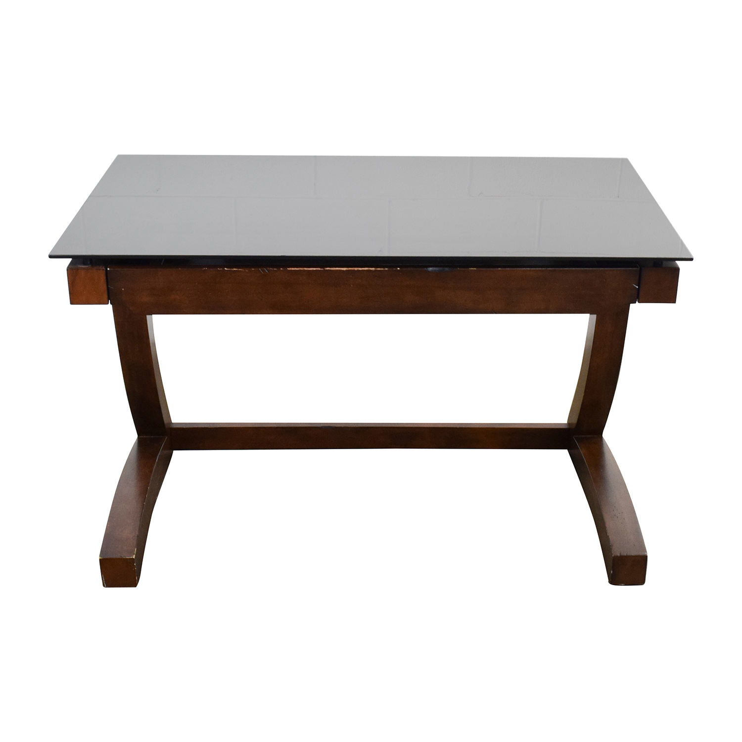 buy Raymour & Flanigan Wood and Black Glass Desk Raymour and Flanigan