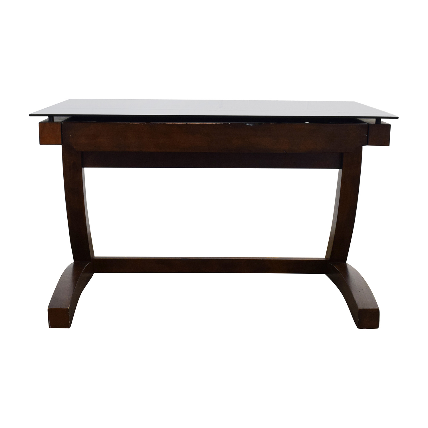 shop Raymour & Flanigan Wood and Black Glass Desk Raymour and Flanigan