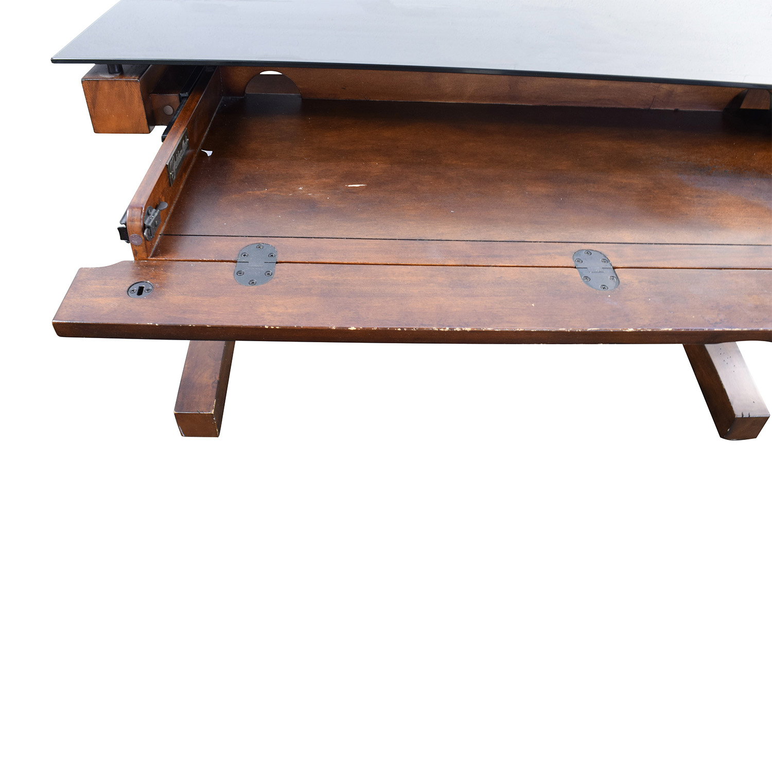 Raymour Flanigan Wood And Black Gl Desk