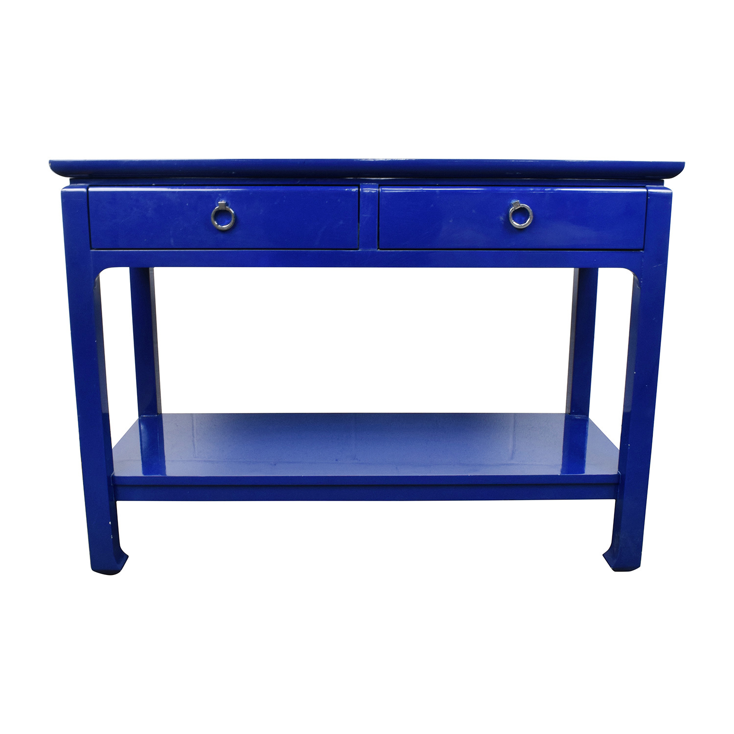 Bruna Modern Classic Blue Lacquer Chinoiserie Console Table Storage