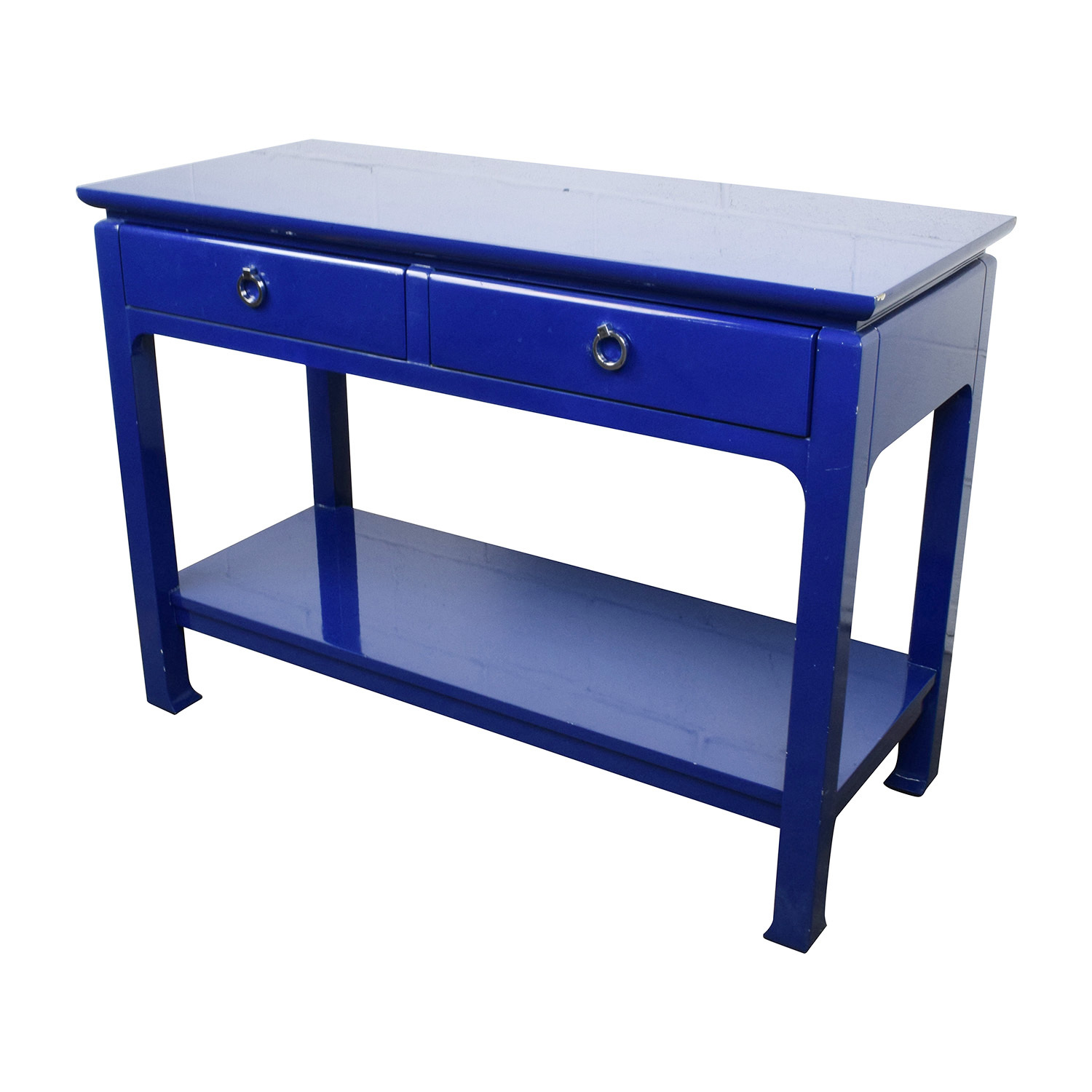 buy Bruna Modern Classic Blue Lacquer Chinoiserie Console Table Bruna Storage