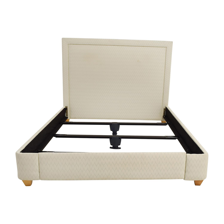 buy Beige Fabric Queen Bed Frame online