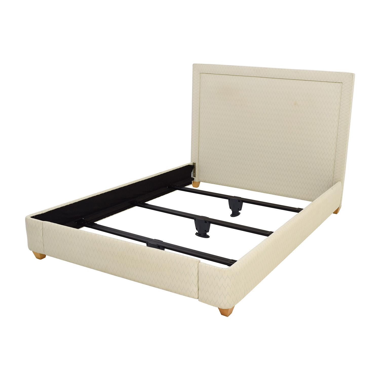 90 Off Beige Fabric Queen Bed Frame Beds