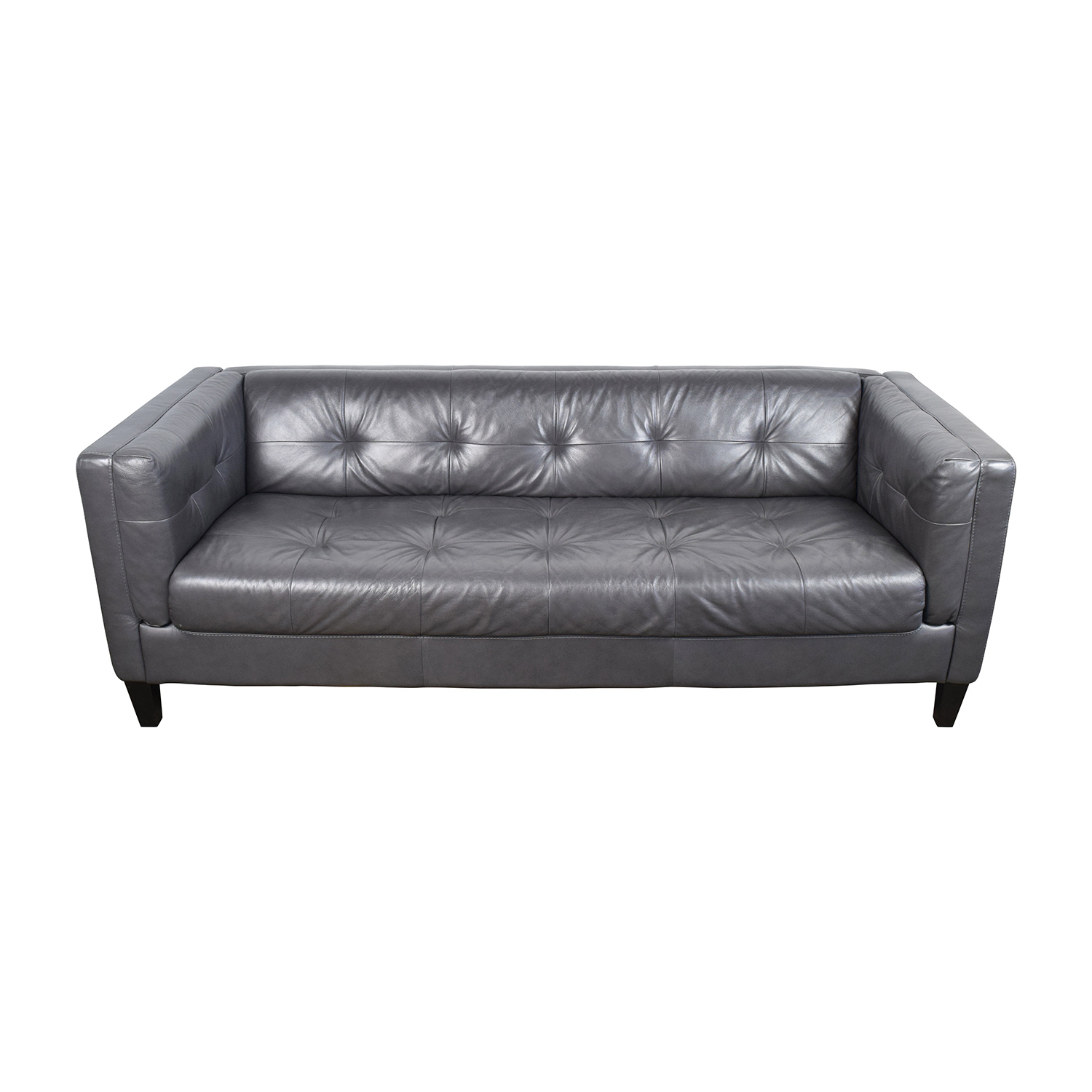 63 off italian navy leather tufted sofa sofas for Tufted leather sleeper sofa