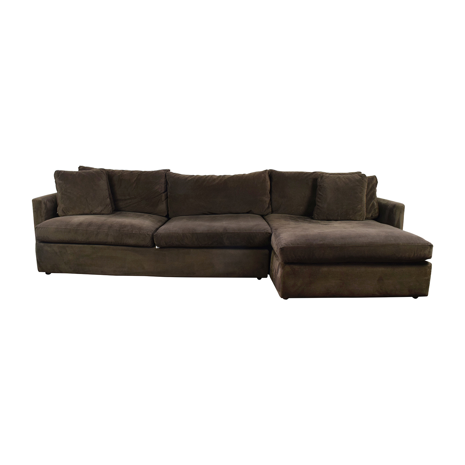 shop Crate & Barrel Brown Left Arm Sectional Crate and Barrel Sectionals