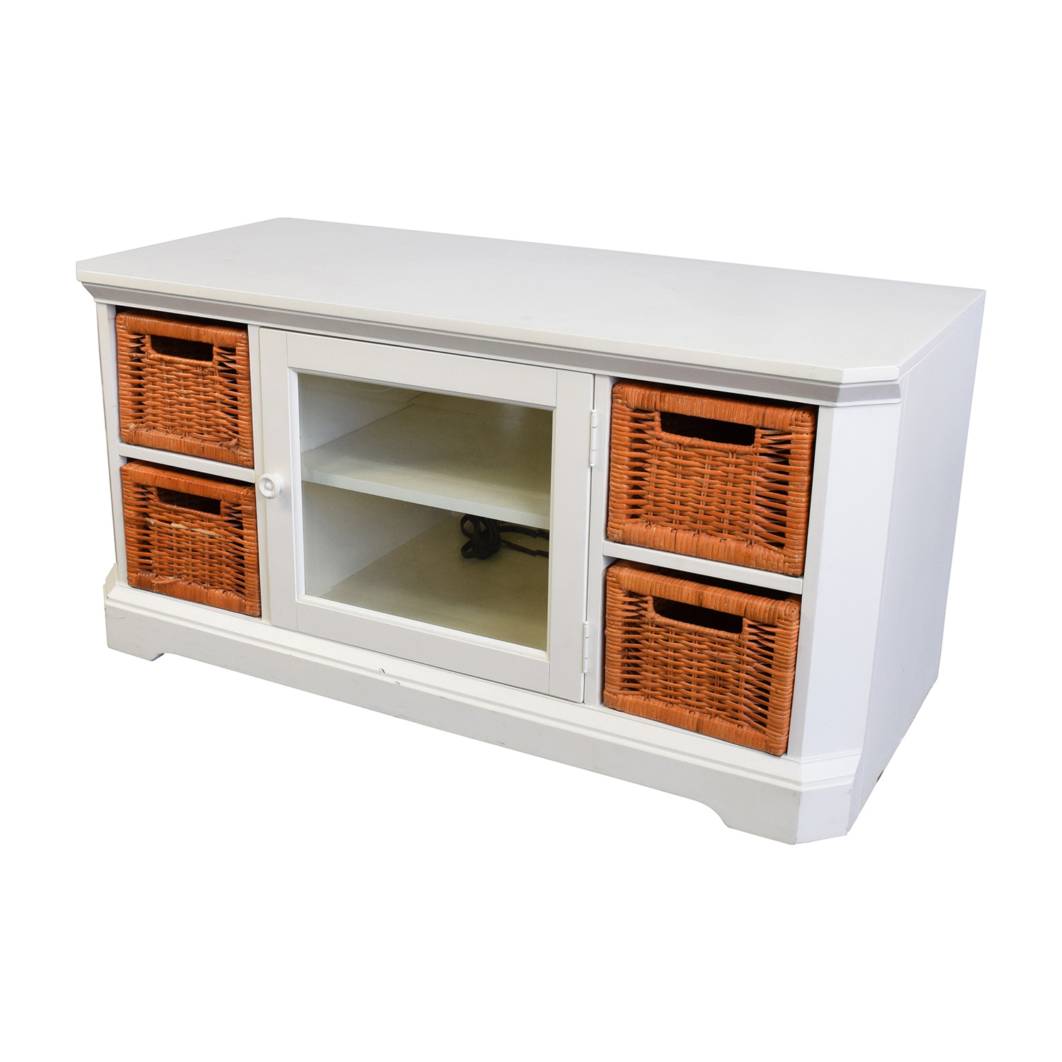 buy White and Orange Wicker Media Console Media Units
