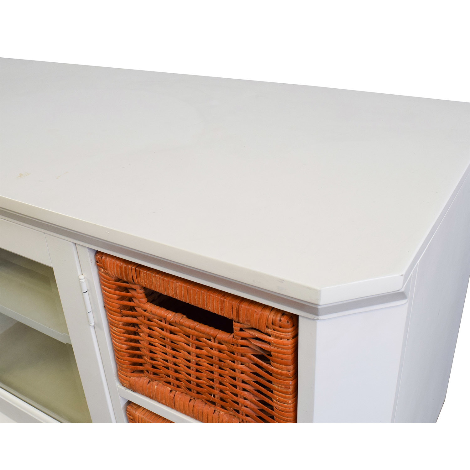 White and Orange Wicker Media Console coupon