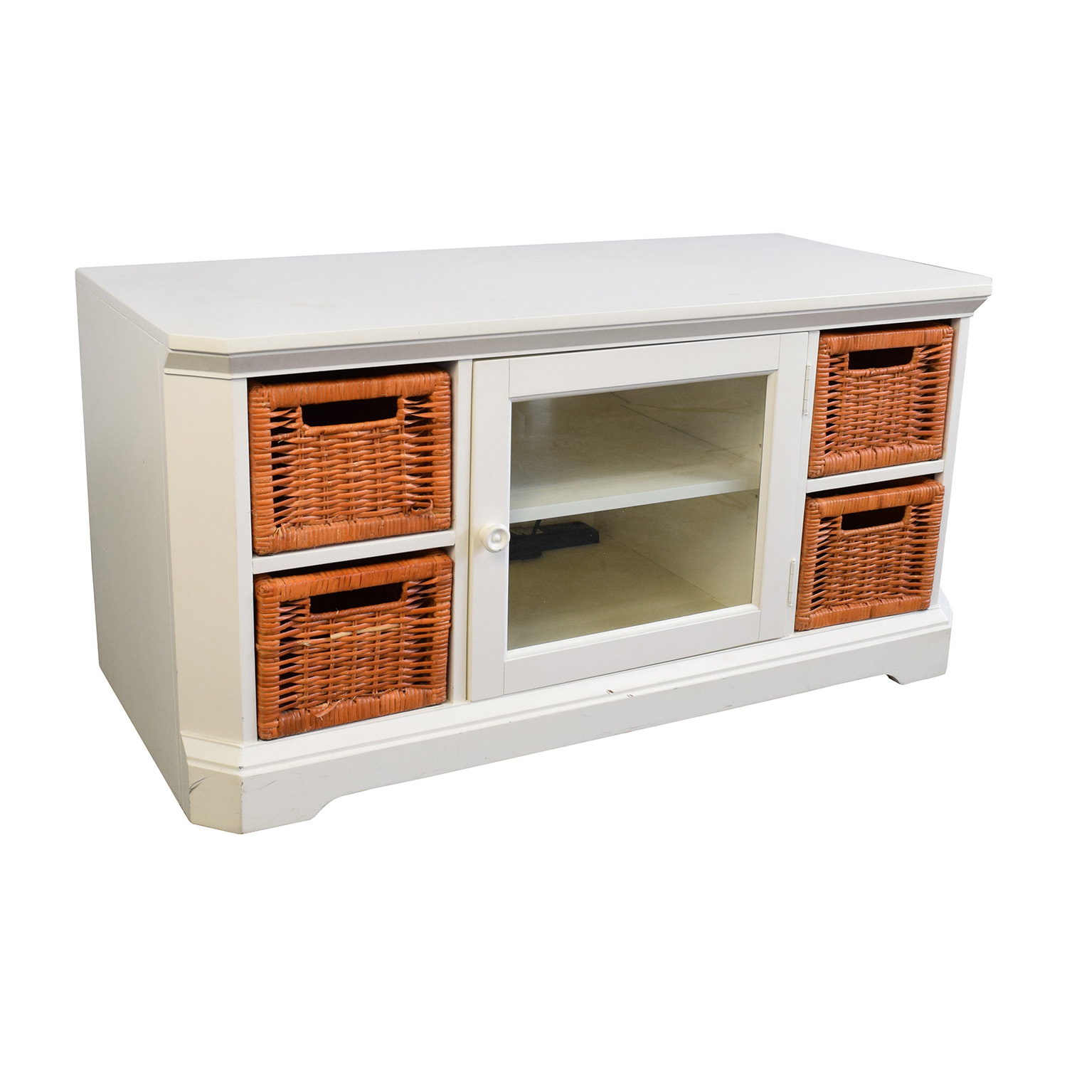 shop White and Orange Wicker Media Console Media Units