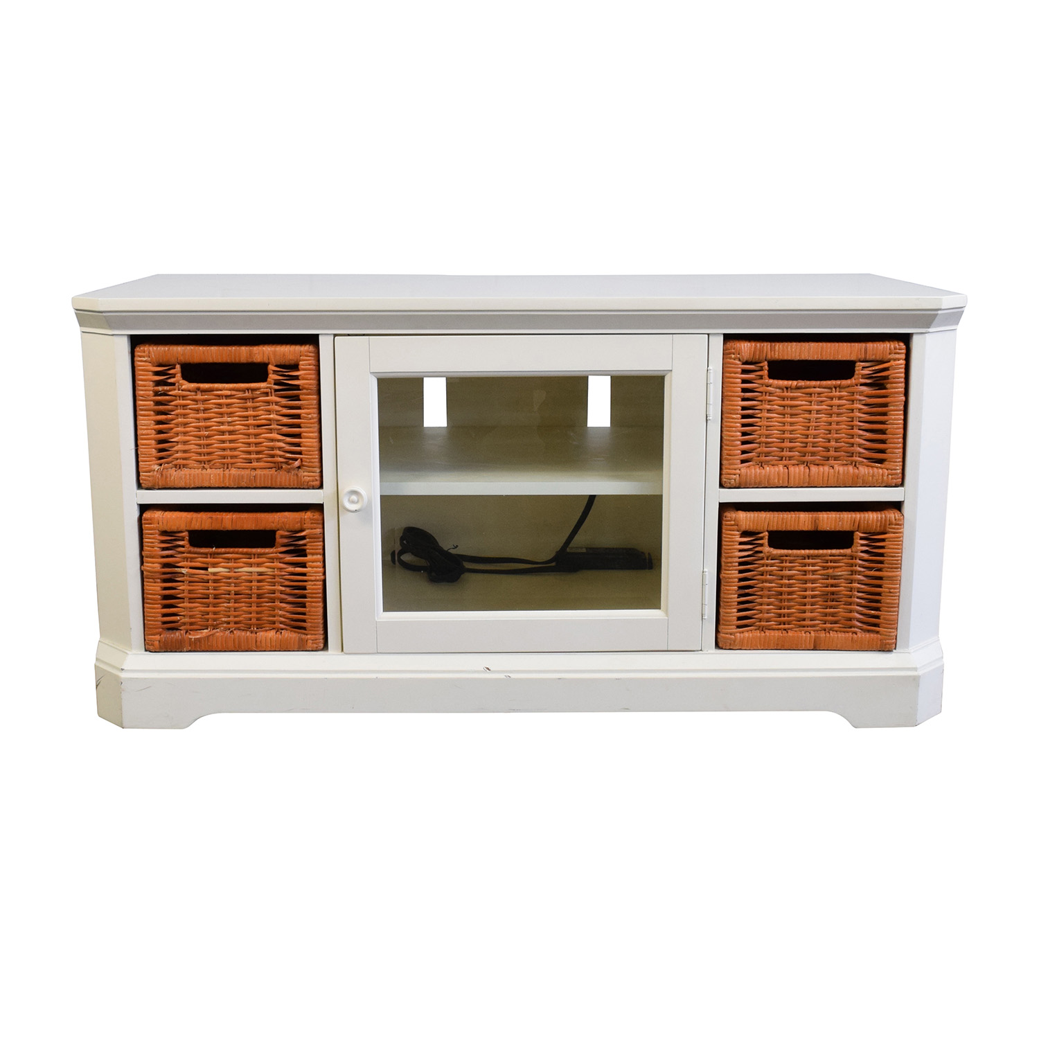 buy White and Orange Wicker Media Console Storage