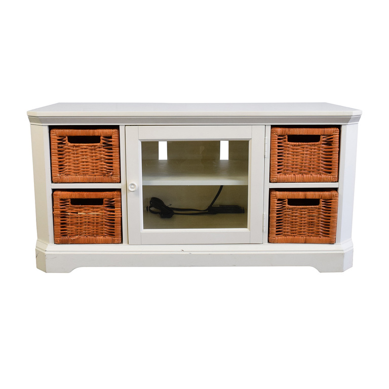 White and Orange Wicker Media Console used