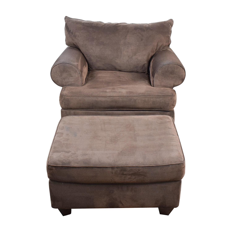 Dark Brown Sofa Chair With Ottoman