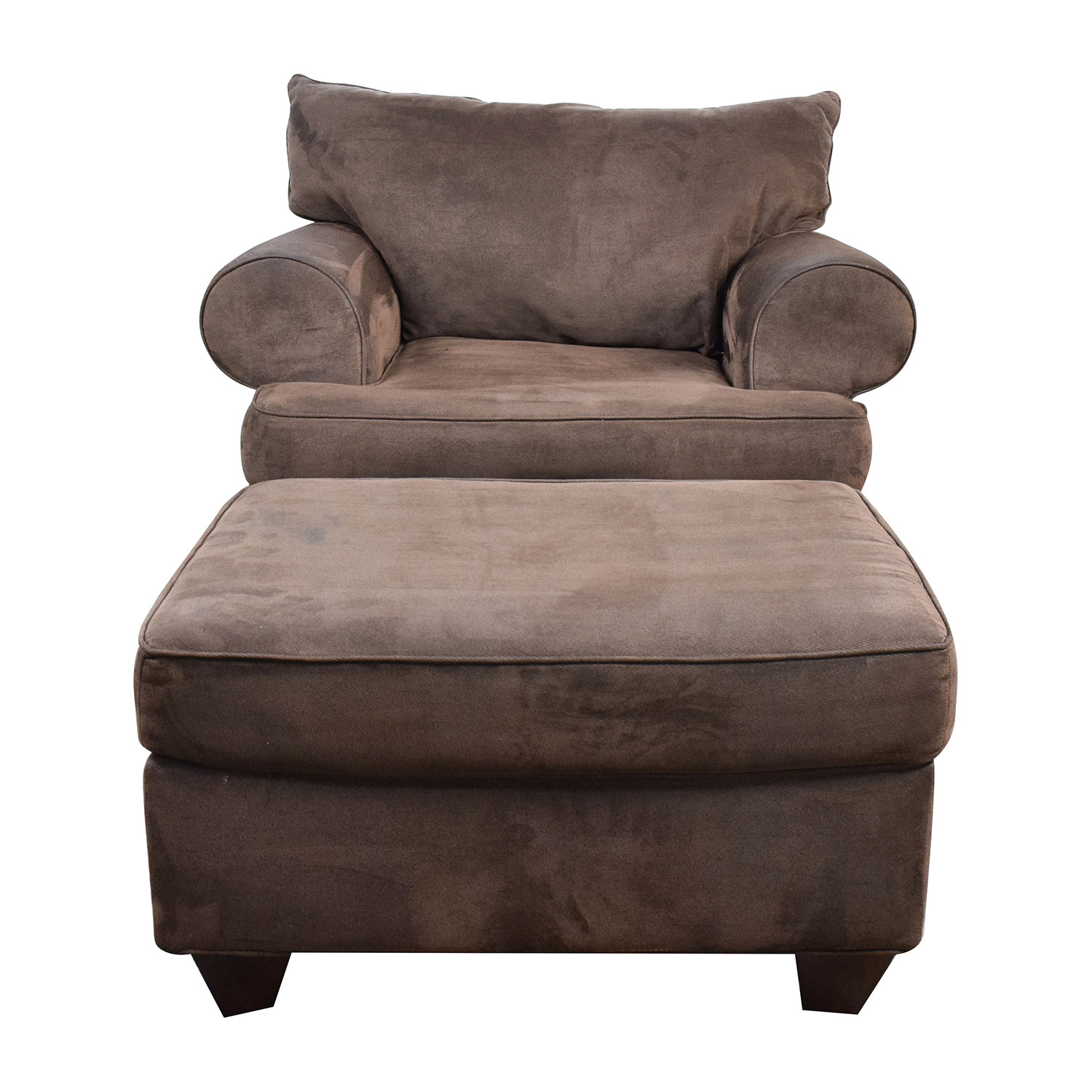 67% OFF - Dark Brown Sofa Chair with Ottoman / Chairs