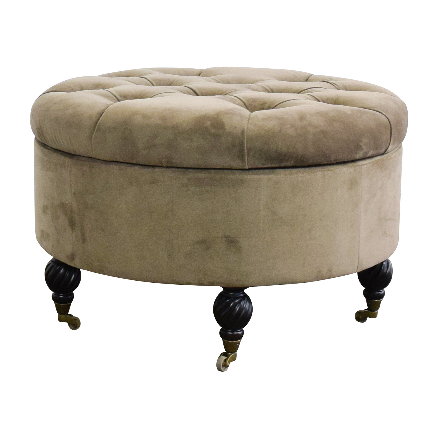 55% Off  Frontgate Frontgate Round Tufted Storage Ottoman. Closet Envy. How Much Is A Bathroom Remodel. Turquoise Girl Room. Chaise Lounge Chairs. Colored Concrete Patio. Cinderella Twin Bed. Concrete Pillars. Safari Decor